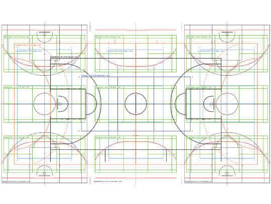 Spielfeldmarkierung von Hallen