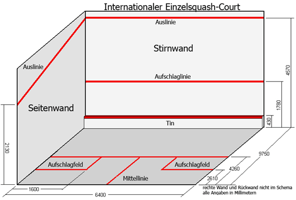 Squash Court - das Spielfeld im Squash
