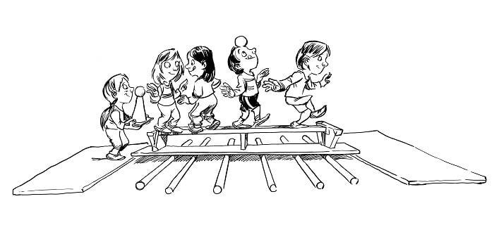 Balanceübungen im Sportunterricht